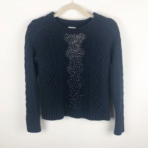 J. Crew Embellished Cable Knit Sweater